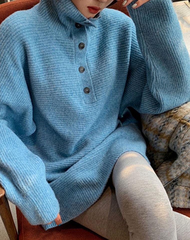 一件解锁更多穿搭  仅108元 宽松高领五粒排扣领  OVERSIZE中长款毛衣