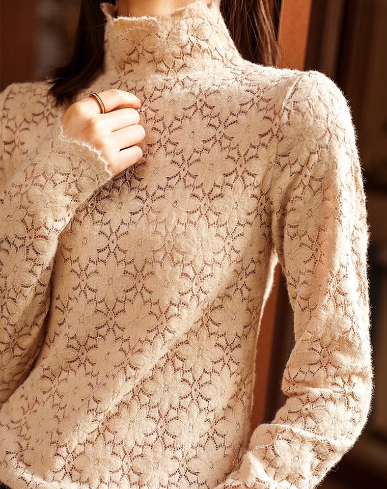 宝藏款加厚蕾丝打底   太有女人味  仅75元 MUJI无印纯正原单  绒绒的 好舒服~高领镂空水溶蕾丝打底衫女冬