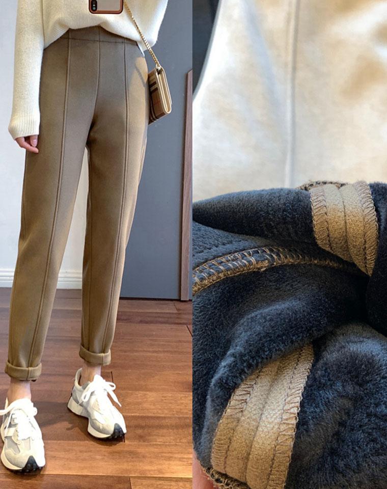 最高品质  高品质加绒加厚  仅128元   穿3年不带变形!不起皱不起球不掉色  显瘦锥形毛呢长裤