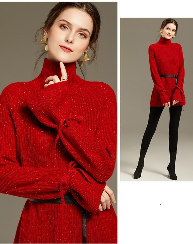 百分百纯羊毛  仅228元  高品质亮丝 高领厚实羊毛衫   秋冬堆堆领毛衣系带加厚针织衫