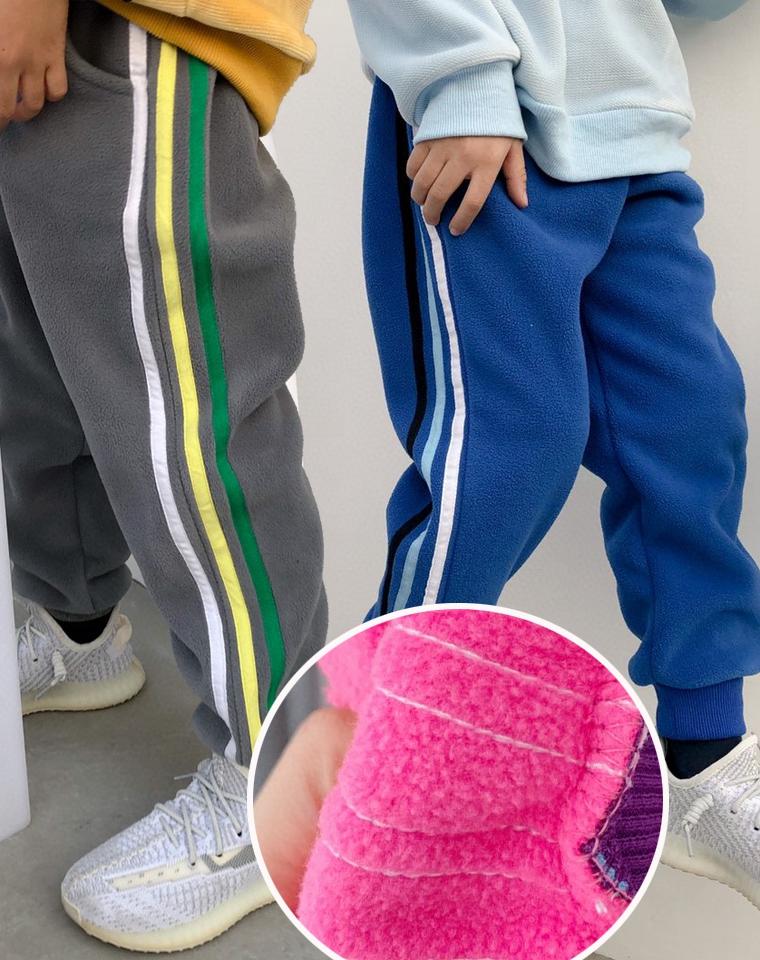 超暖超柔软 确定回购 一条太少~ 仅49元  男孩女孩都好穿 儿童双面加绒收口卫裤 秋冬卫裤