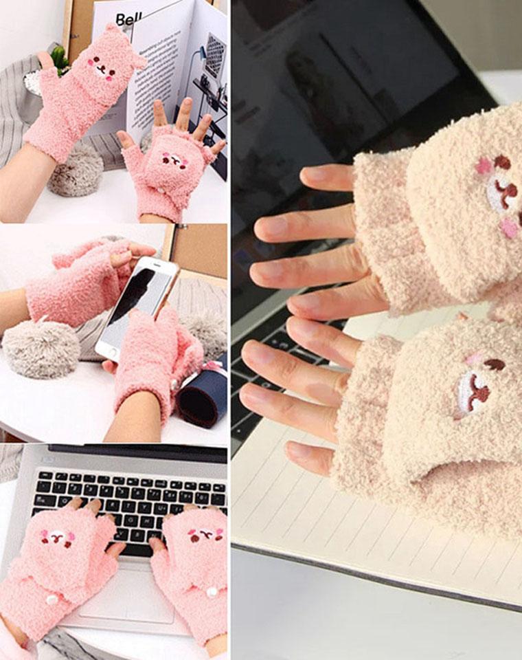 可亲子超实用  加厚升级可翻盖 仅25元  日本Tutuanna图图安娜纯正原单 写字打字触屏手机多用途 学生保暖可翻盖露半指毛绒手套