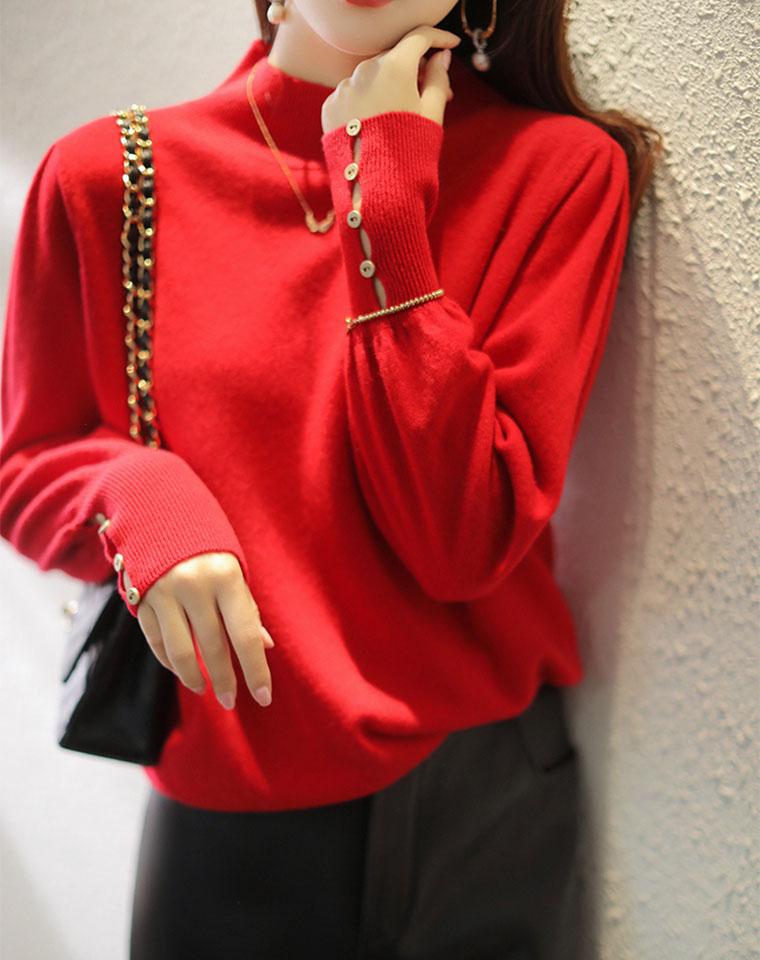 最爱深深一抹红   全羊毛 太美太有女人味  仅228元  精致纽扣点睛 全羊毛半高领针织衫毛衣