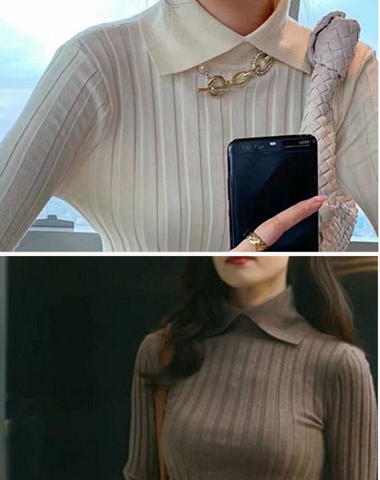 女神们都在穿 仅168元  史上最好看的一款 Tote Aviles坑条衫! 翻领坑条针织衫