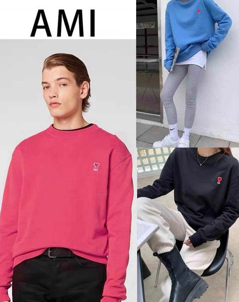 自带时髦因子 火到爆炸的男女款  仅118元 法国小众Ami Paris最新  2021春季最新 小爱心刺绣贴布质感  圆领卫衣