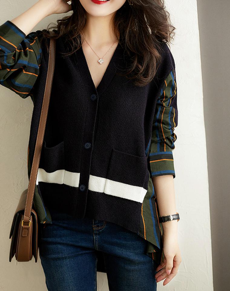 1+1>2的双层风格美感   仅168元  时髦穿着洋气条纹衬衫  拼接针织慵懒显瘦羊毛开衫