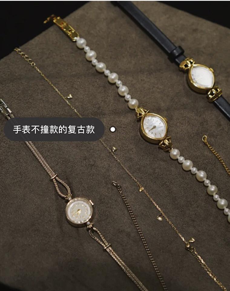 舍不得分享的小众手表!仅368元!日本Agete精致复古珍珠+皮表带款   精美腕式小方表