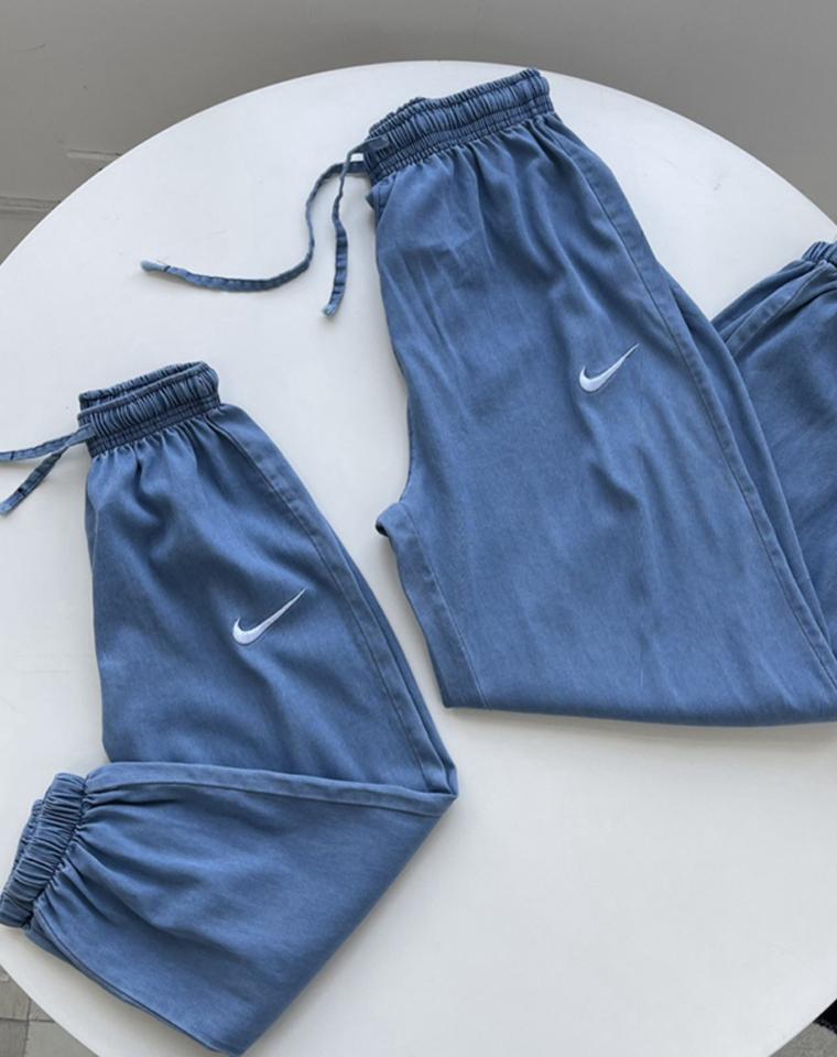 超舒适天丝 可亲子  仅58元 78元 Nike纯正原单 独立牛皮纸专柜包装 松紧腰  天丝牛仔裤  薄款收口长裤