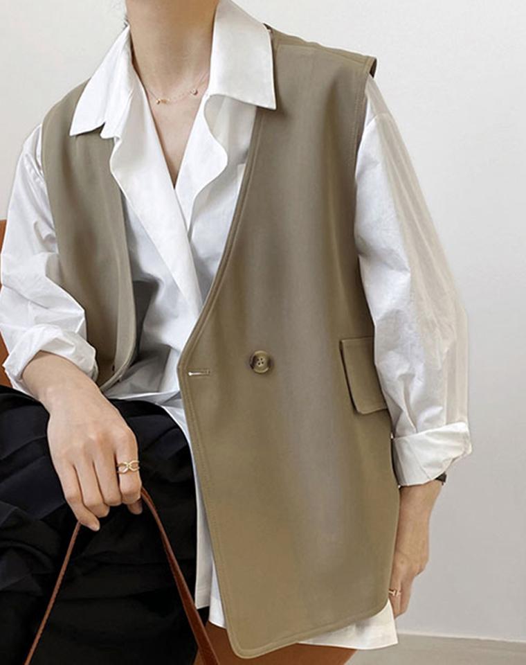 港味chic 凹造型单品 仅95元 2021最新春 宽松显瘦  复古 系扣西装马夹 外套