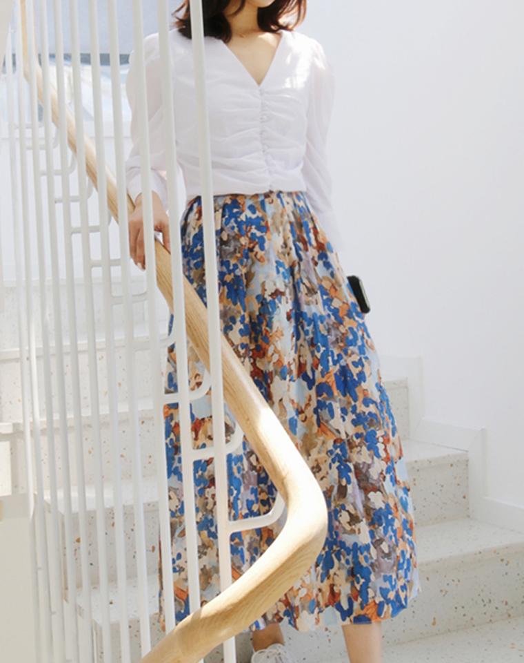 莫奈印象  春日繁花  仅95元   2021夏季 宝藏油画风 半身裙 复古法式彩色水彩质感半裙