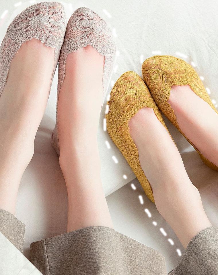 防滑防掉跟  仅5.8元一双 3双16.8元    超薄 夏新立体 彩色蕾丝隐形船袜  浅口女袜