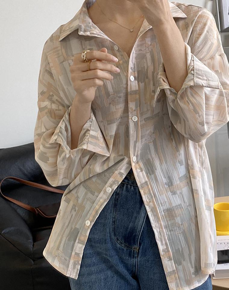 港味设计感 百搭有型 仅75元  外贸订单 涂鸦  印花雪纺衬衫