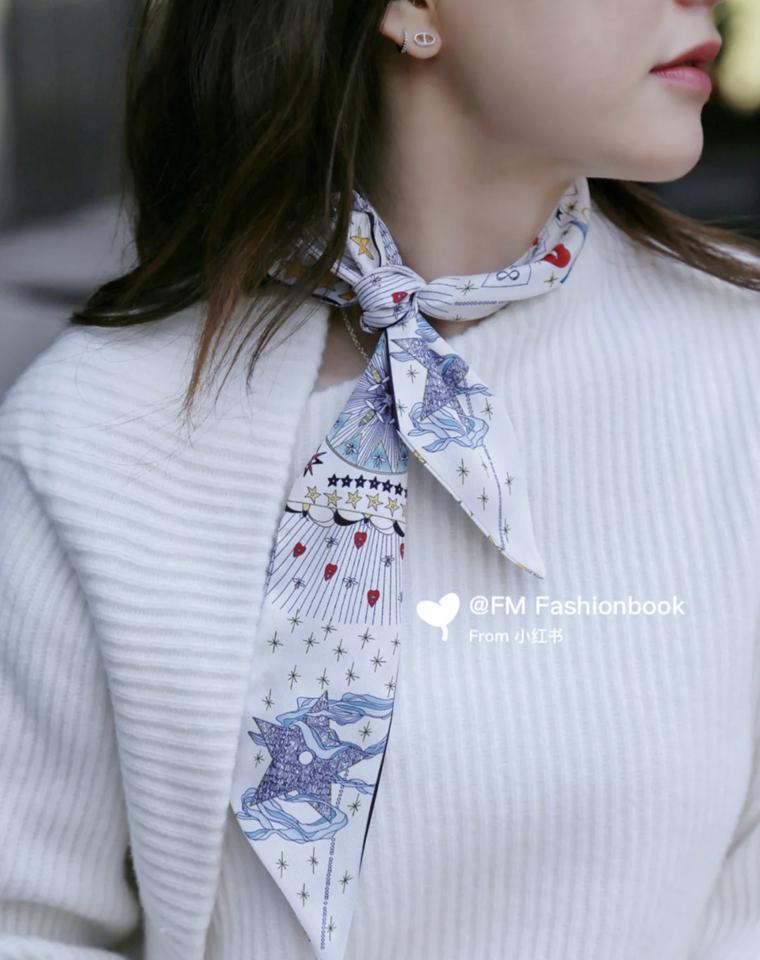 没有一条Dior的丝巾 怎么做最chic的时髦精  双层双面真丝  仅79元  复古洋气印花   真丝小丝巾 超好看