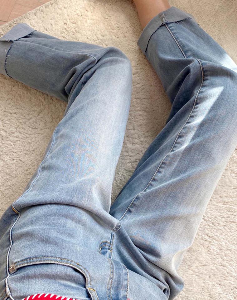 高端好货  一条可以搭所有 奏是这么好穿 仅148元   美国MICHAEL KORS MK纯正原单 官网同步  2021百搭显腿直显瘦 舒适挽边牛仔裤