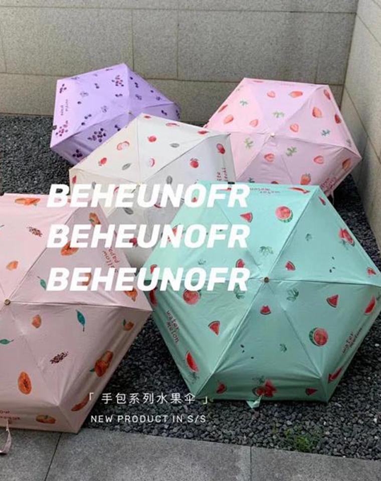 抓紧物理防晒 拒绝做小黑妞  仅89元  BEHEUNOFR可扫码  5折超小巧 手包系列水果晴雨伞