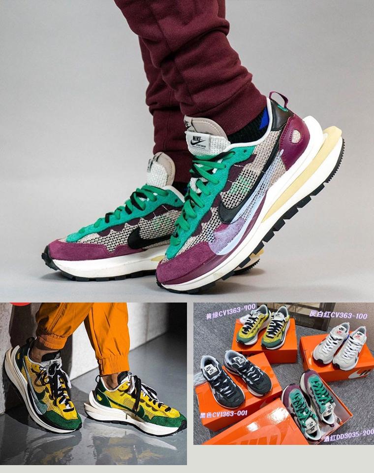 超级牛哄哄!!男女款 仅385元  Sacai x Nike VaporWaffle  独渠道   解构 经典撞色拼接头层牛皮橡胶大底运动鞋