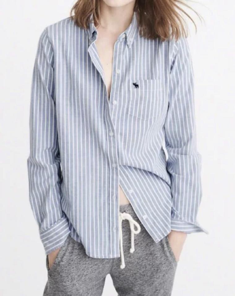 衣橱常青款 不是好东西不会如此重推! 仅85元 美国Abercrombie fitch AF    最新 小鹿原单  经典小口袋 LOGO刺绣   女士牛津布衬衫