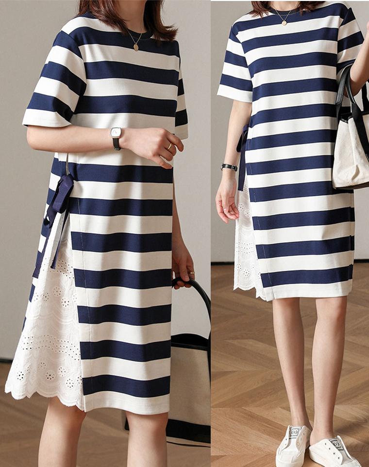 优雅侧拼接  夏季稀缺!仅185元 定织色织面料 巨美条纹 短袖连衣裙