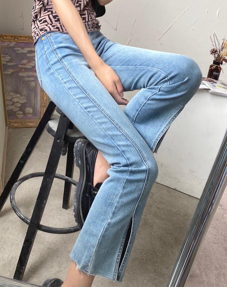 修饰腿型真的神!钢印保真  仅168元 美国红牌TORY BURCH托里伯奇 纯正原单 前开叉牛仔裤