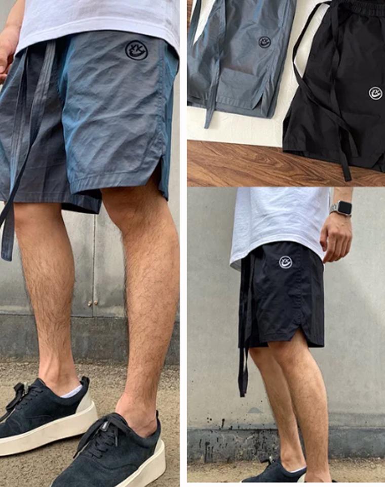 黑科技变色龙面料   仅89元   耐钩联名最新款  2021春夏新款 欧美高街限定电玩笑脸飘带短裤