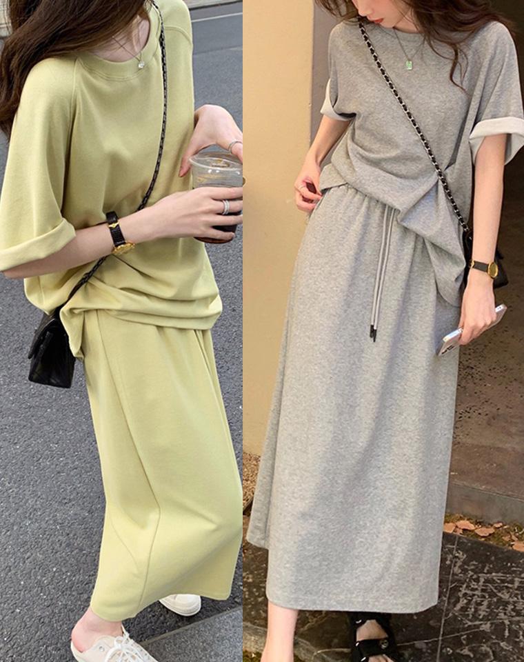 极至简约 仅115元 冷感面料 纯色中袖Tee半裙套装