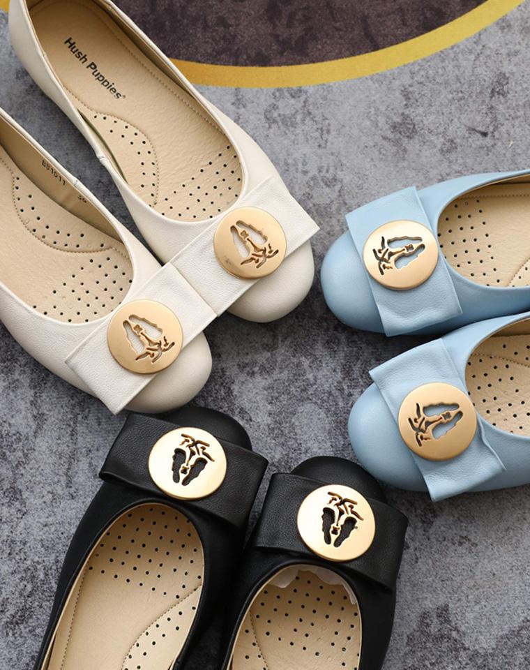 拔草必收  仅238元  美国Hushpuppies暇步士纯正原单    牛皮面内里超柔软猪皮 超舒适芭蕾鞋