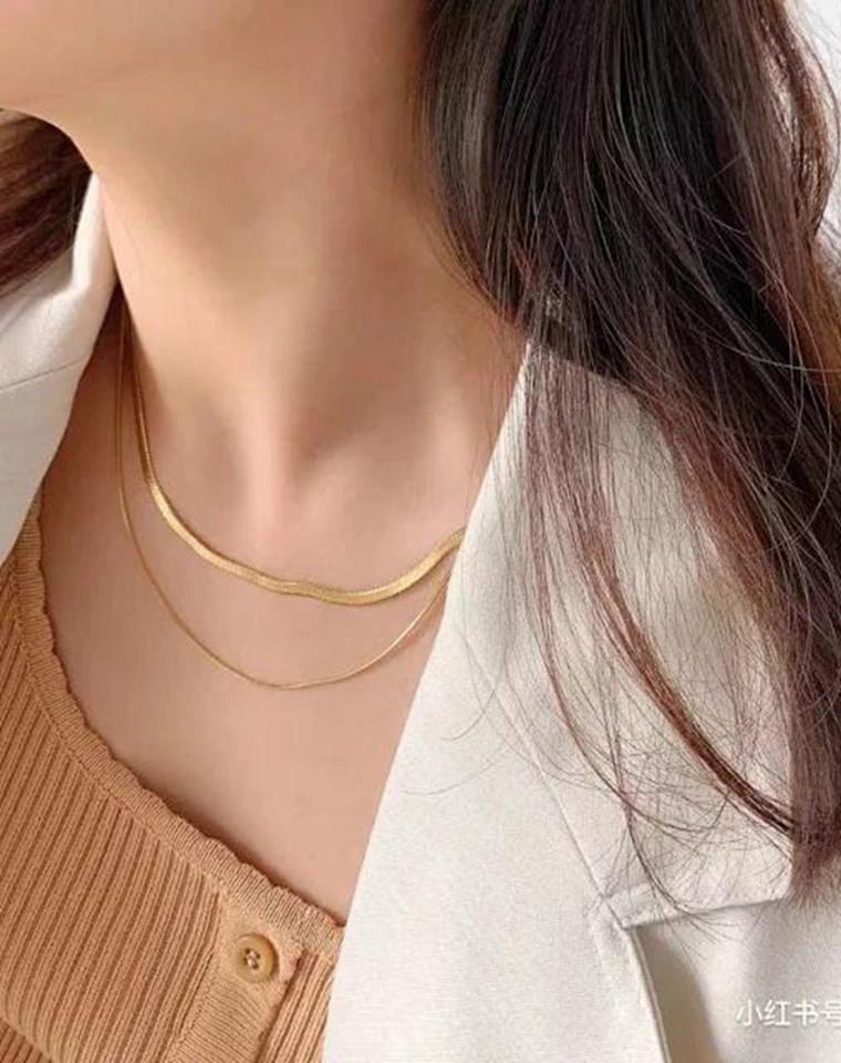 宝藏饰品  男女款 仅198元 Missoma蛇骨素链系列 925纯银镀18k金项链+手链