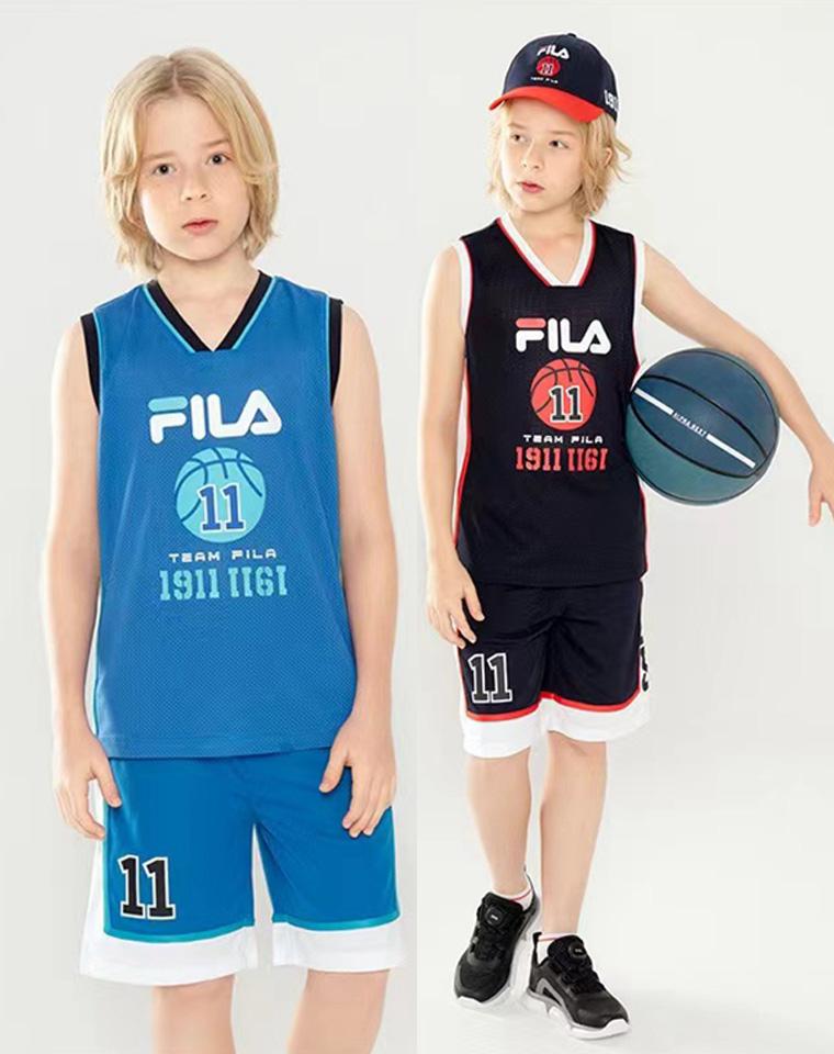 亲妈必收   小男生最爱的运动套装  仅85元 FILA斐乐纯正原单 速干短袖短裤篮球套装    男童速干套装