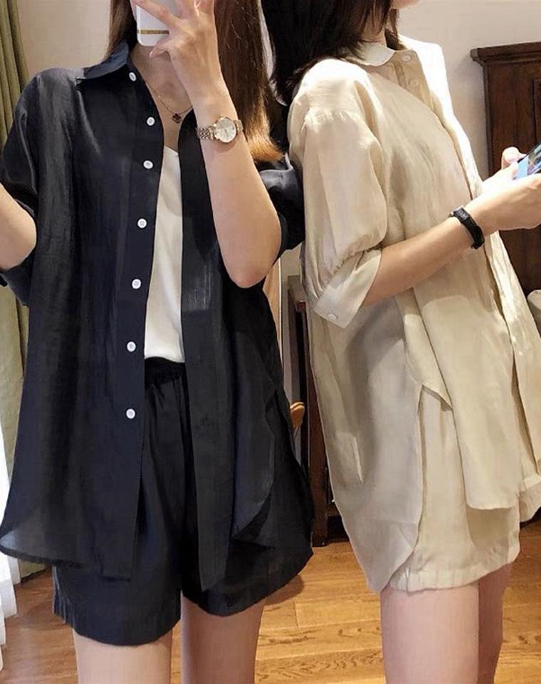 轻薄凉爽有质感 天丝100%  仅148元  MAXMARA纯正原单 五分袖衬衫+短裤套装