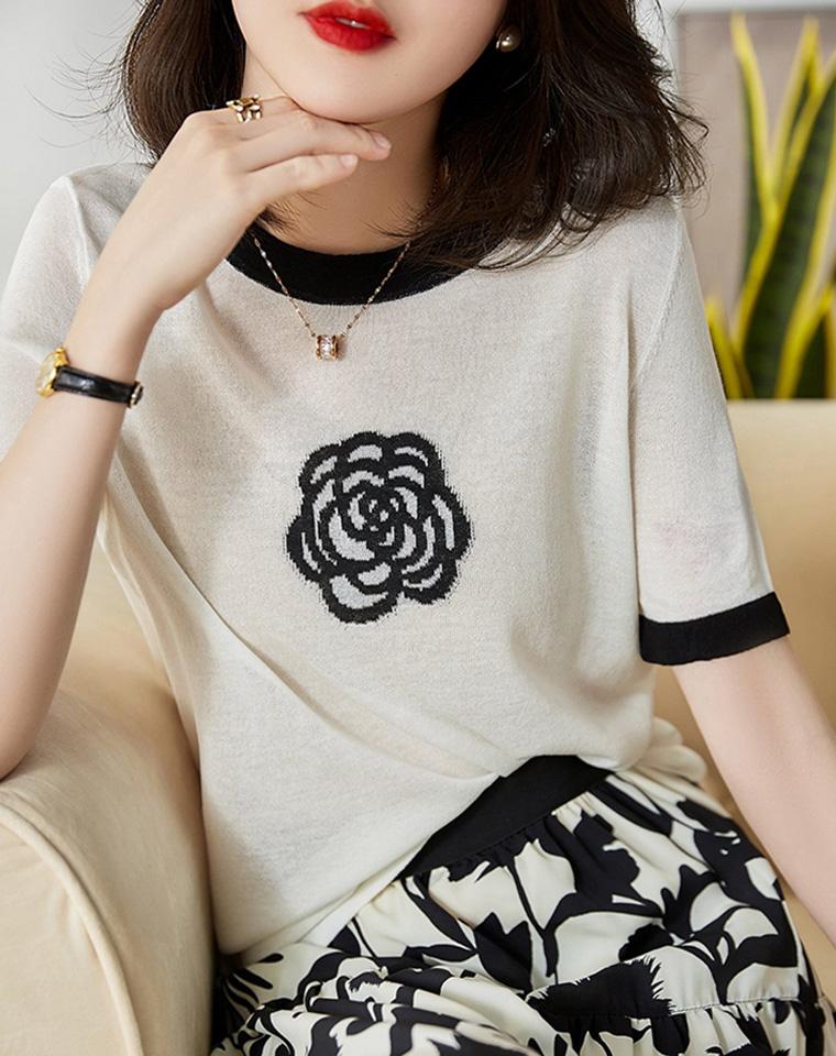 唯美雅致   仅69元  小香山茶花  黑白冰丝短袖针织T恤