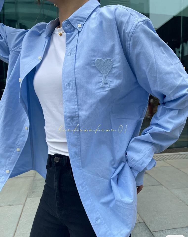 绝不太休闲  也不过于正式  男女款仅108元  法国AMI纯正原单 刺绣大桃心  牛津纺纯色衬衫