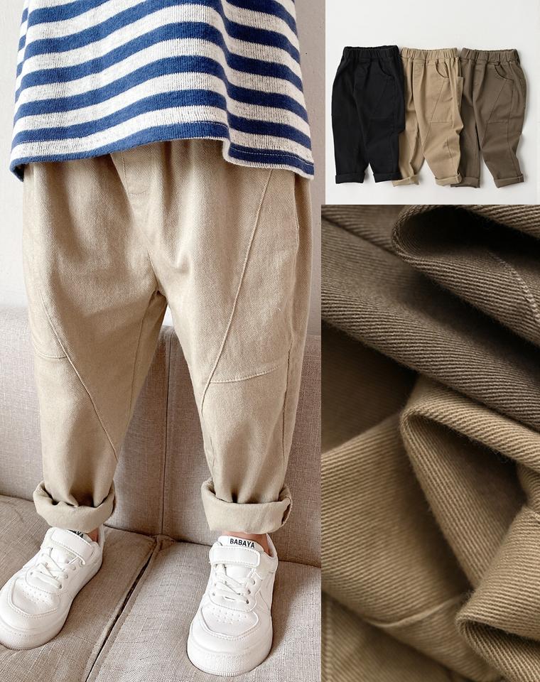 帅帅哒  软软哒  仅49元  日本订单 儿童纯棉梭织长裤 男童女童纯色宽松挽边老爹裤