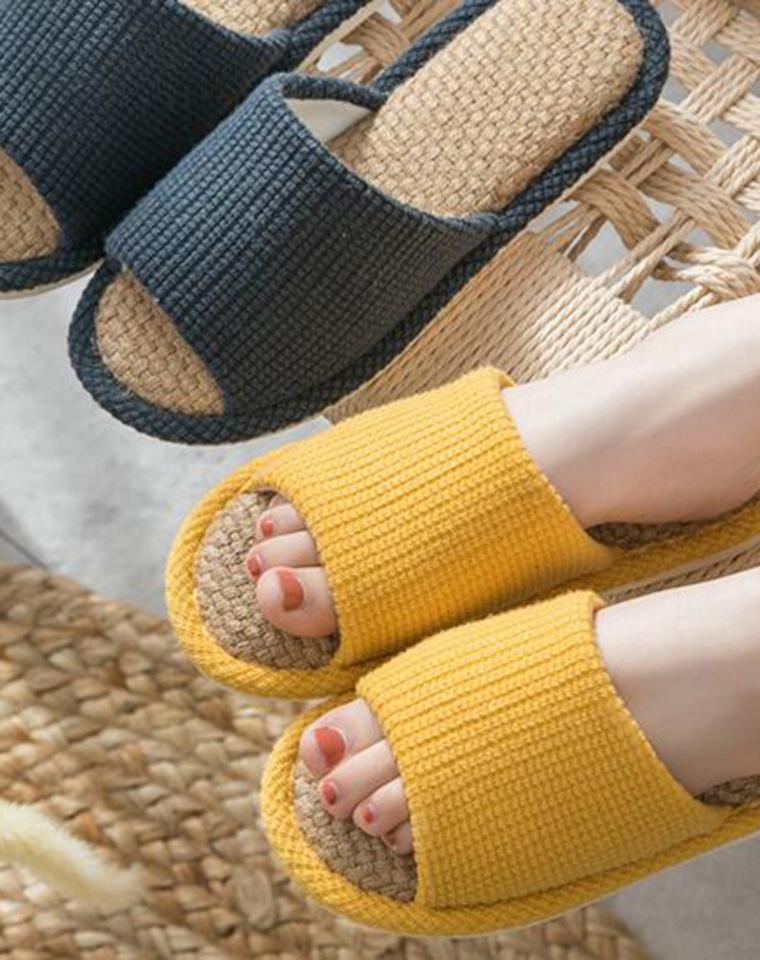 日式森系の棉麻 亚麻脚垫  男女款  仅18.8元   厚底居家 室内软底拖鞋