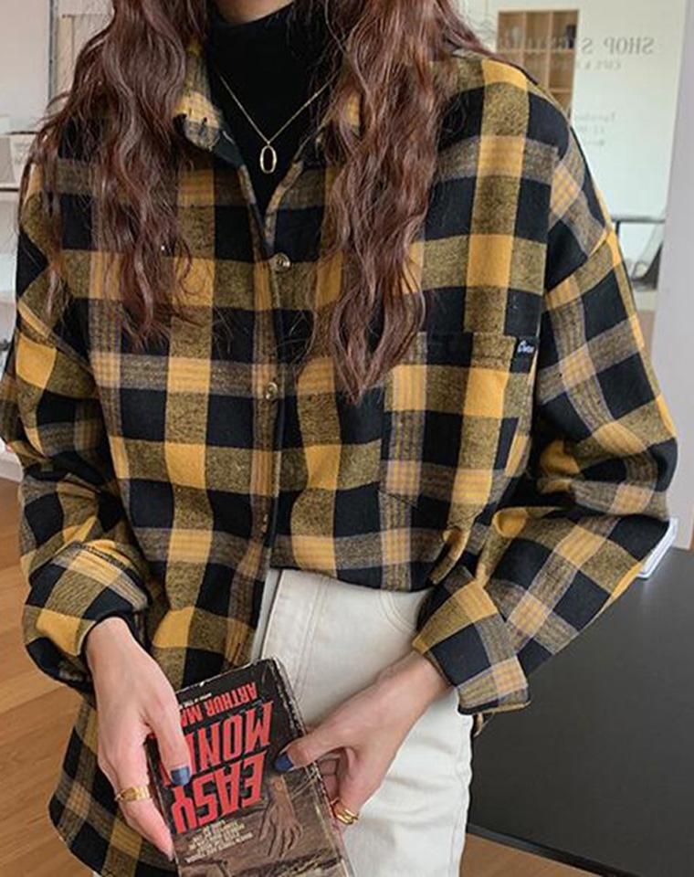 衣品好的时髦精 优雅又减龄  仅75元  轻度磨毛撞色格纹 洋气复古调色  磨绒格纹衬衫