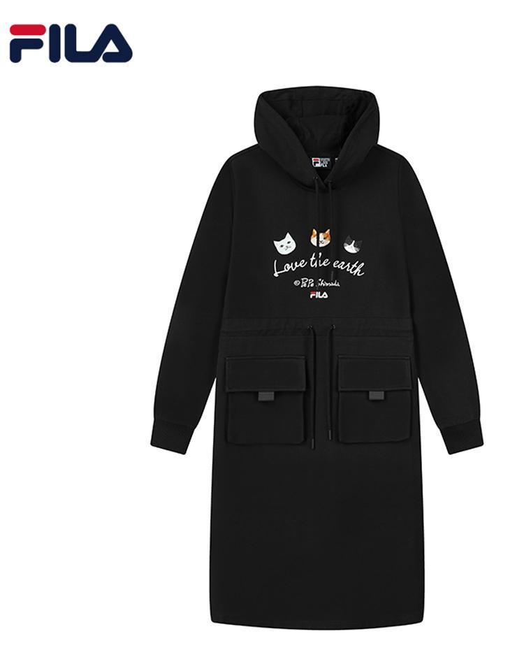 超实穿减龄  有细节的品质款  仅168元  F1LA x Pepe Sh1mada斐乐纯正原单 联名2021秋季   卫衣式 连帽长袖显瘦连衣裙 秋冬连衣裙
